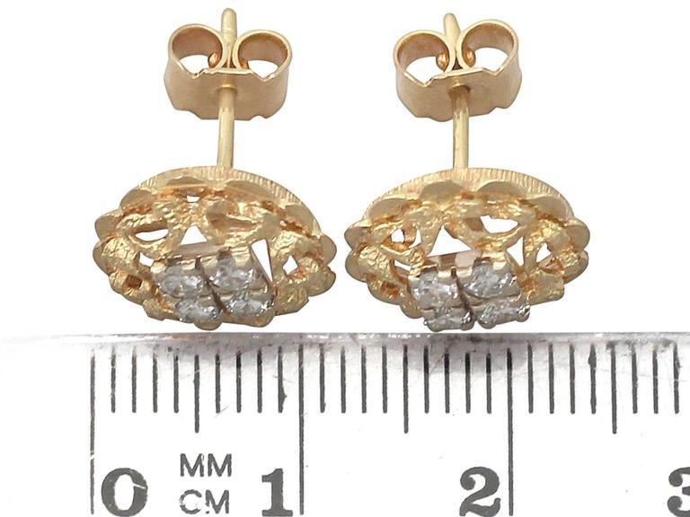 0.24Ct Diamond & 18k Yellow Gold, 18k White Gold Set Stud Earrings - Vintage For Sale 1