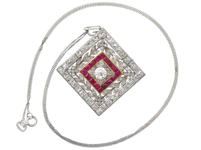 1900 Antique Ruby 3.48 Carats Diamonds Gold Platinum Pendant Brooch 2
