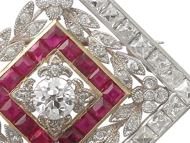 1900 Antique Ruby 3.48 Carats Diamonds Gold Platinum Pendant Brooch 3