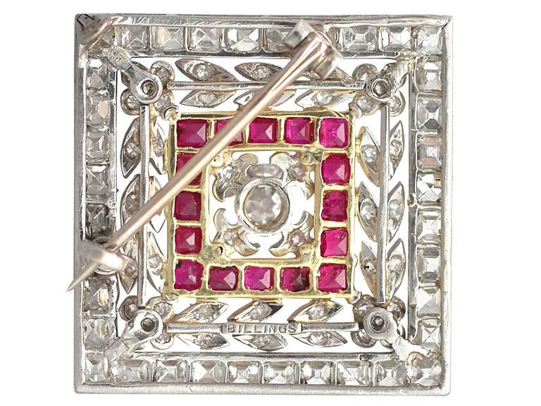1900 Antique Ruby 3.48 Carats Diamonds Gold Platinum Pendant Brooch 6