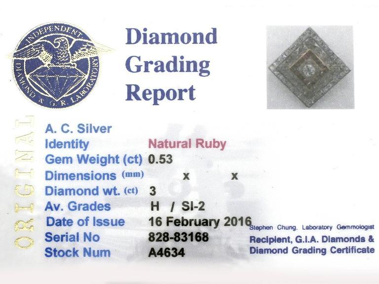 1900 Antique Ruby 3.48 Carats Diamonds Gold Platinum Pendant Brooch 8