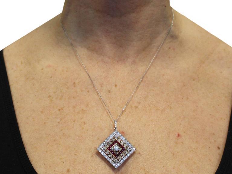 1900 Antique Ruby 3.48 Carats Diamonds Gold Platinum Pendant Brooch 10