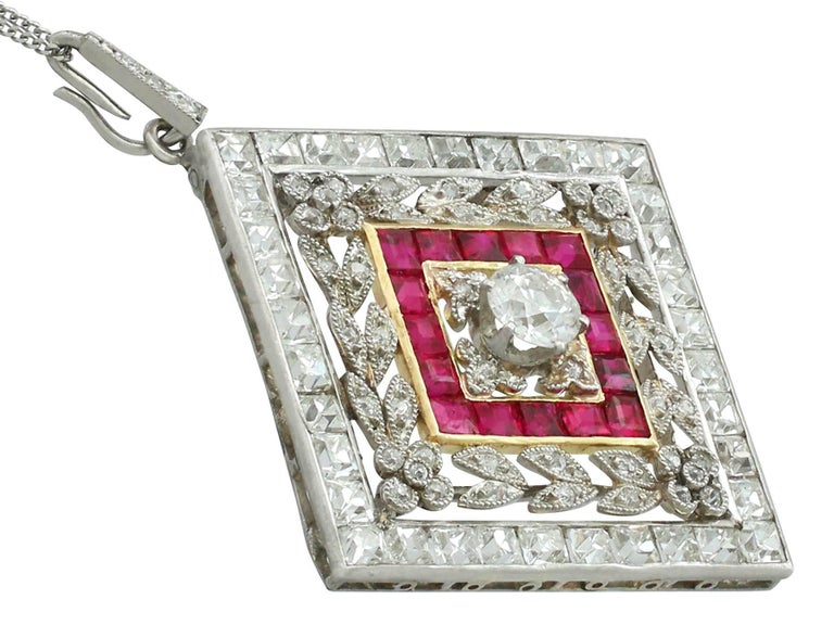 1900 Antique Ruby 3.48 Carats Diamonds Gold Platinum Pendant Brooch In Excellent Condition For Sale In Jesmond, Newcastle Upon Tyne