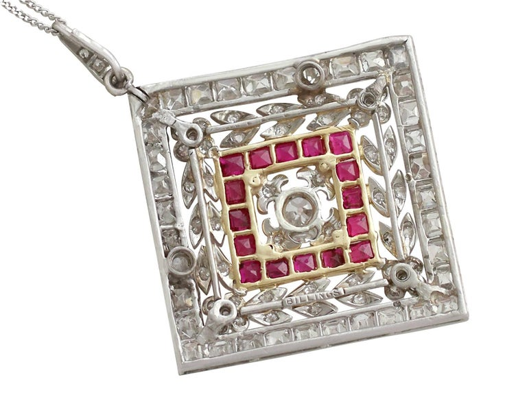 Women's 1900 Antique Ruby 3.48 Carats Diamonds Gold Platinum Pendant Brooch For Sale