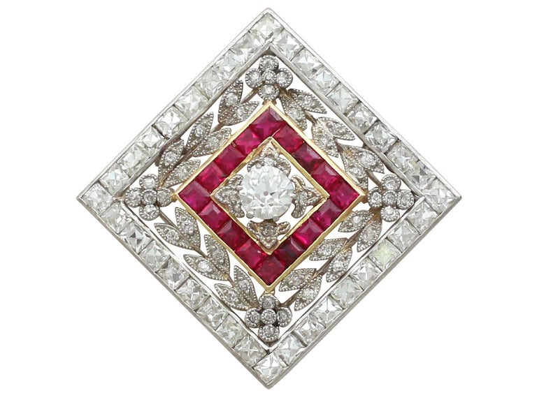 1900 Antique Ruby 3.48 Carats Diamonds Gold Platinum Pendant Brooch For Sale 1