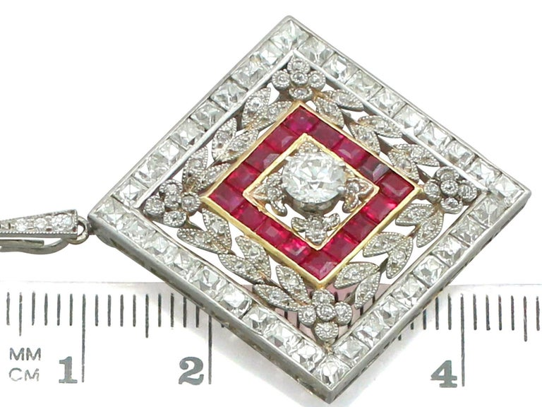 1900 Antique Ruby 3.48 Carats Diamonds Gold Platinum Pendant Brooch For Sale 3