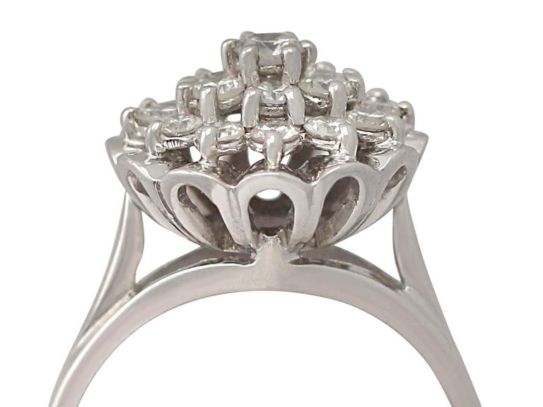 A stunning, fine and impressive vintage 1.63 carat diamond and 18 karat white gold dress ring; part of our vintage jewelry and estate jewelry collections
