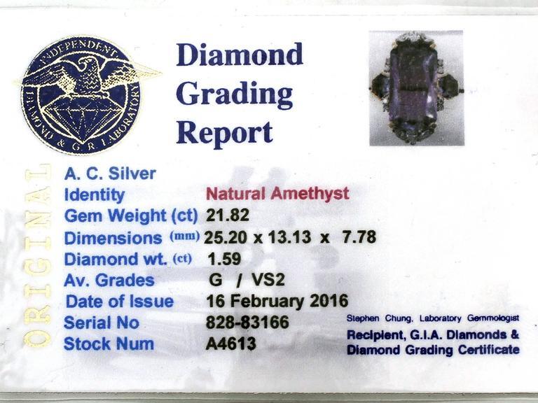 1970s 21.82 Carat Amethyst 1.59 Carats Diamonds Gold Cocktail Ring 6