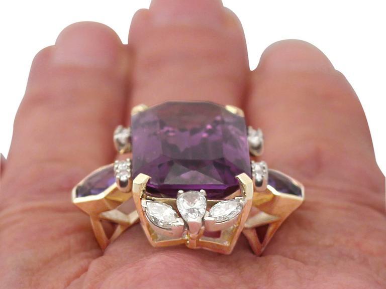 1970s 21.82 Carat Amethyst 1.59 Carats Diamonds Gold Cocktail Ring 9
