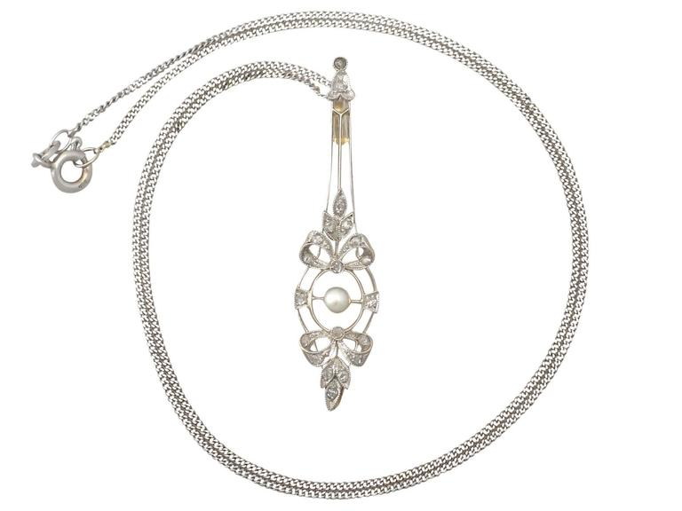 Pearl & 0.20Ct Diamond, 18k Yellow Gold & 18k White Gold Set Pendant - Antique 2
