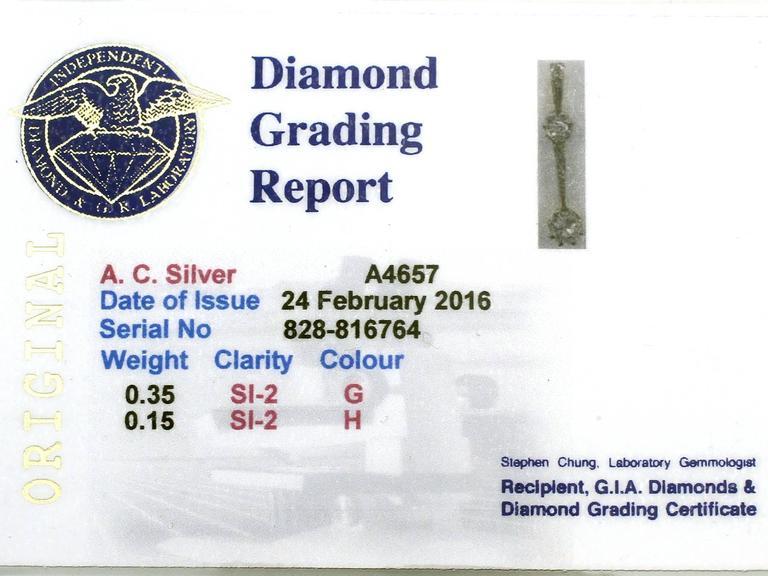 0.50Ct Diamond and 18k White Gold Pendant - Antique Circa 1920 For Sale 3