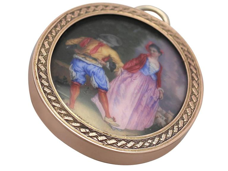 9 Karat Yellow Gold Miniature Portrait Pendant, Antique Victorian 4