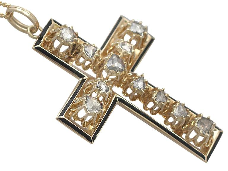 Women's 1.42Ct Diamond & Black Enamel, 14k Yellow Gold Cross Pendant - Antique Victorian For Sale