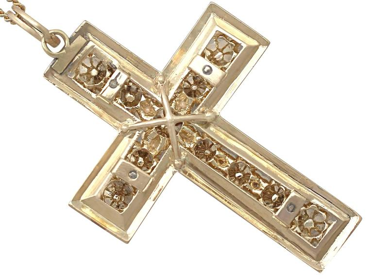 1.42Ct Diamond & Black Enamel, 14k Yellow Gold Cross Pendant - Antique Victorian For Sale 1