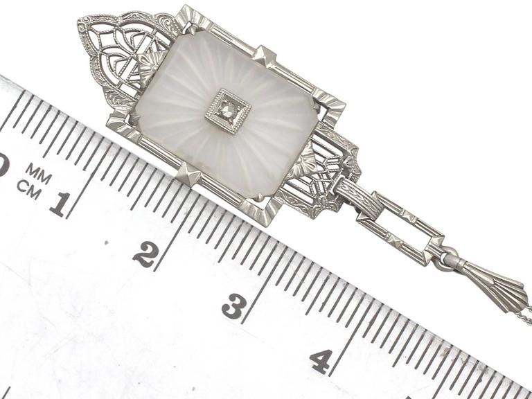 Diamond and Crystal, 14k White Gold Pendant - Art Deco - Antique Circa 1920 For Sale 2