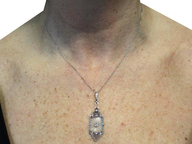 Diamond and Crystal, 14k White Gold Pendant - Art Deco - Antique Circa 1920 8