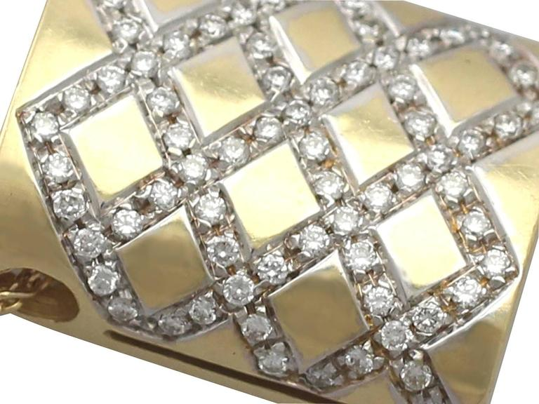 Women's 0.65Ct Diamond & 18k Yellow Gold, 18k White Gold Set Pendant - Vintage Belgian For Sale