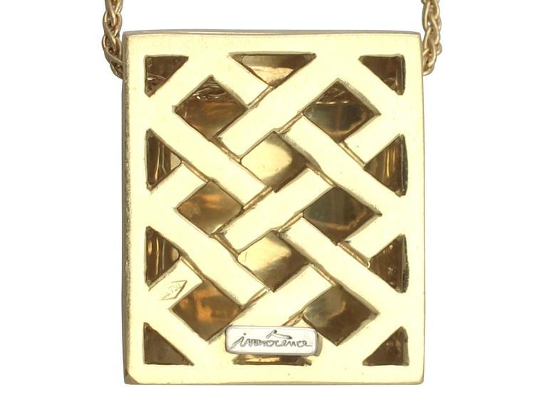 0.65Ct Diamond & 18k Yellow Gold, 18k White Gold Set Pendant - Vintage Belgian For Sale 1