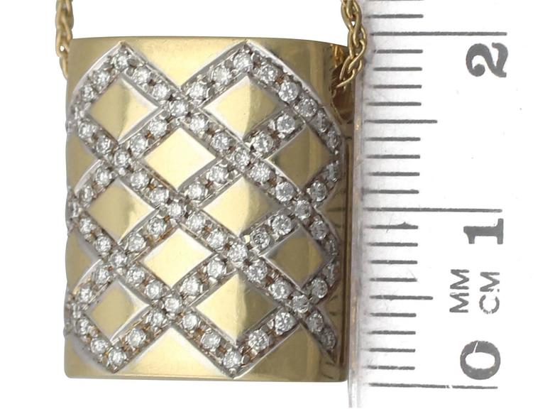 0.65Ct Diamond & 18k Yellow Gold, 18k White Gold Set Pendant - Vintage Belgian For Sale 2