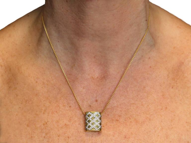 0.65Ct Diamond & 18k Yellow Gold, 18k White Gold Set Pendant - Vintage Belgian For Sale 4