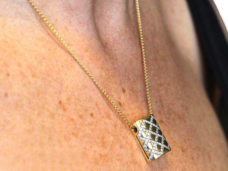 0.65Ct Diamond & 18k Yellow Gold, 18k White Gold Set Pendant - Vintage Belgian For Sale 5