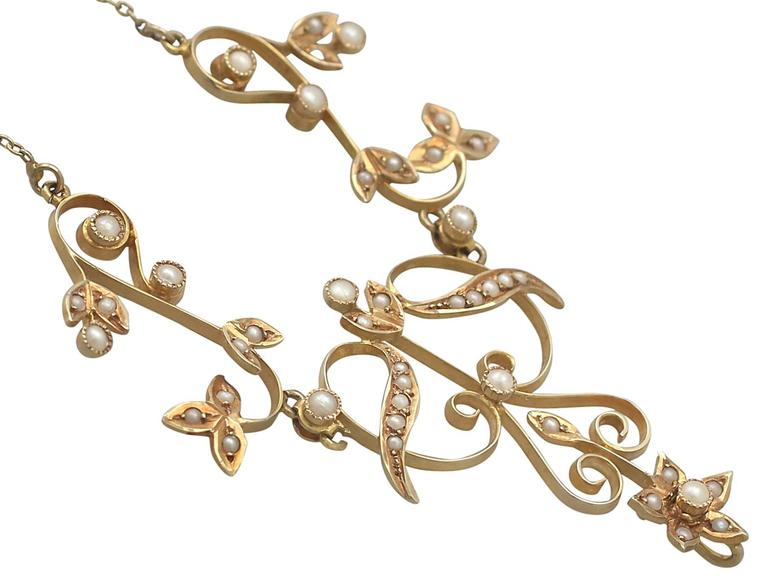 Women's or Men's Pearl and 14k Yellow Gold Necklace - Art Nouveau - Antique Circa 1900 For Sale