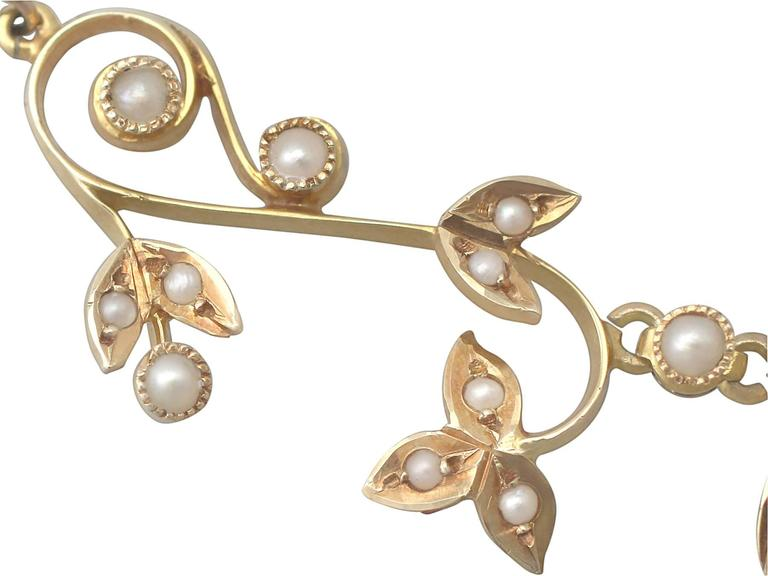 Pearl and 14k Yellow Gold Necklace - Art Nouveau - Antique Circa 1900 For Sale 2