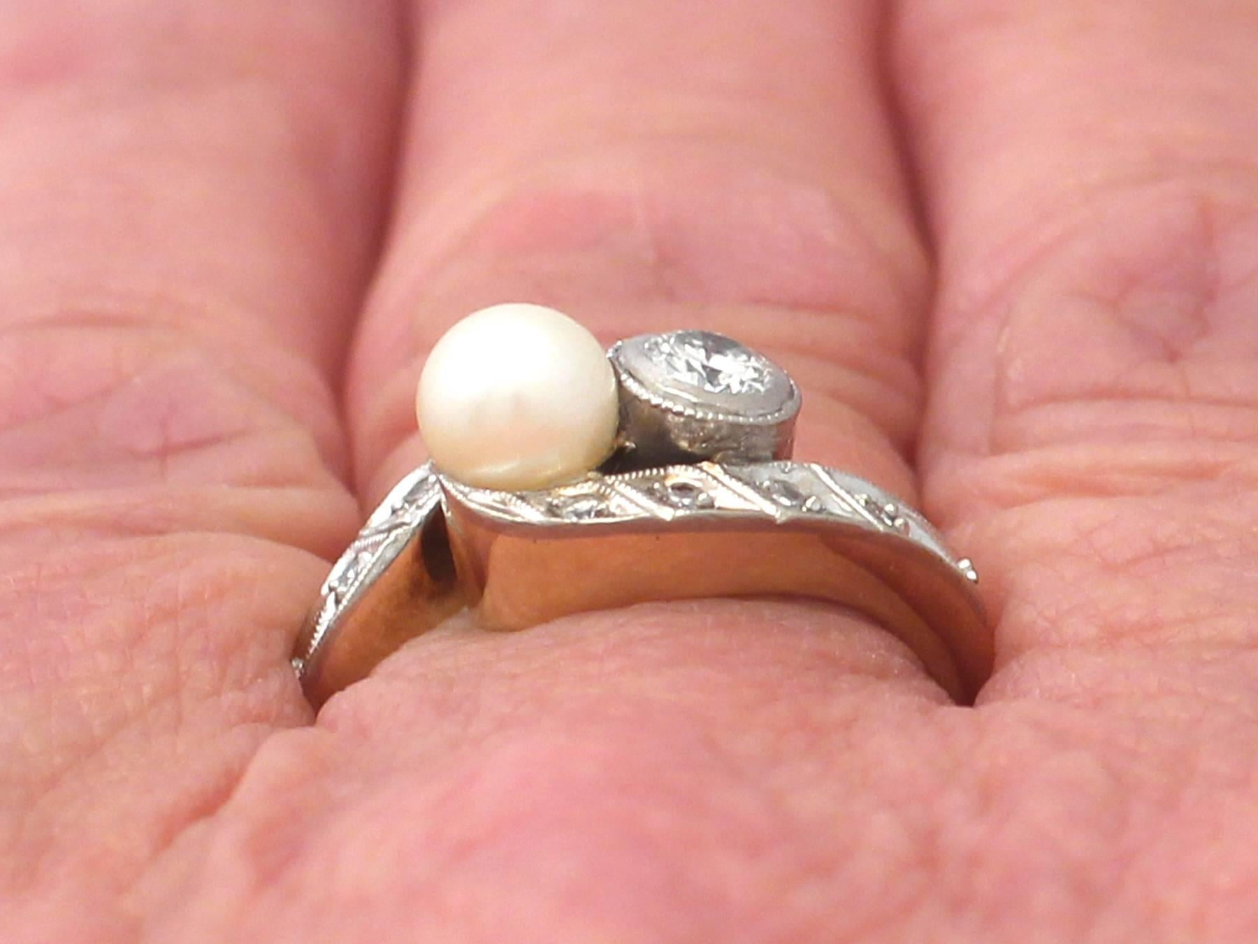 1930s Antique Diamond and Pearl Yellow Gold Twist Ring For Sale at ...