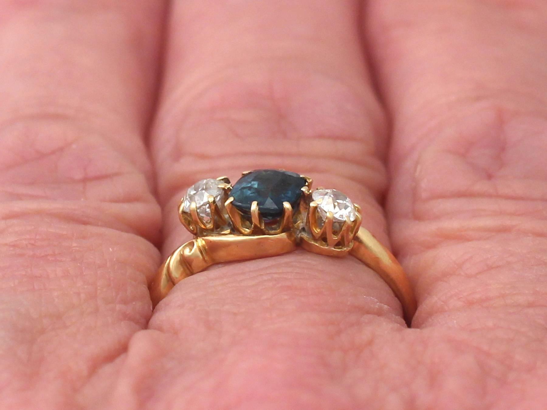 0.98Ct Sapphire and 0.40Ct Diamond, 18k Yellow Gold Twist Ring ...