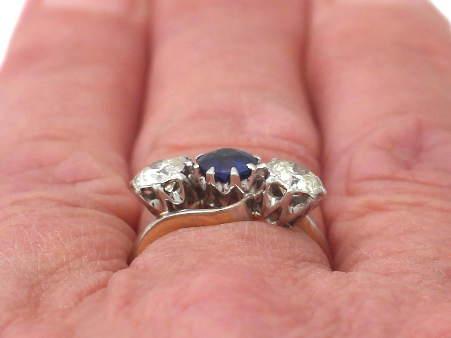 1950s Sapphire and Diamond Yellow Gold Trilogy Ring For Sale at 1stdibs