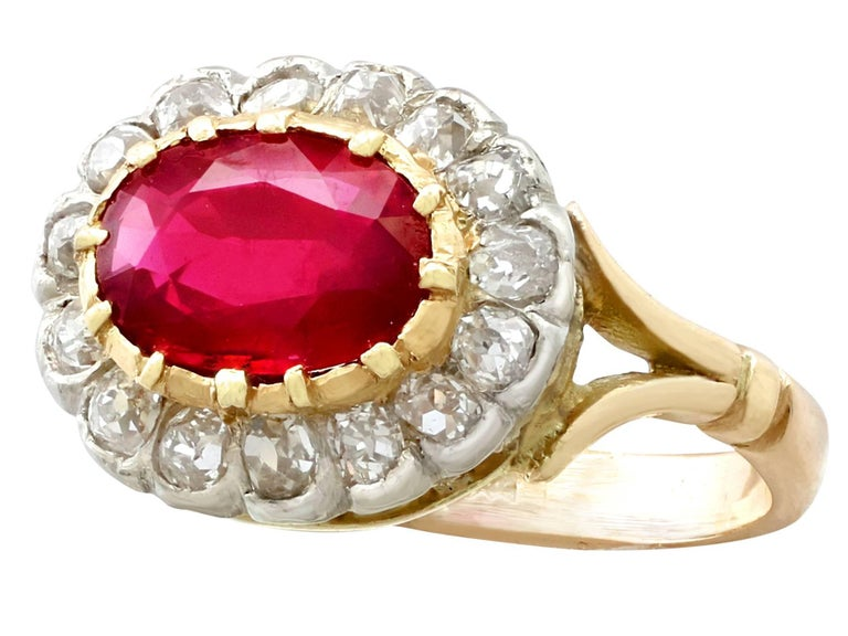 Women's Antique 1.50 Carat Ruby Diamond Yellow Gold Cluster Ring For Sale