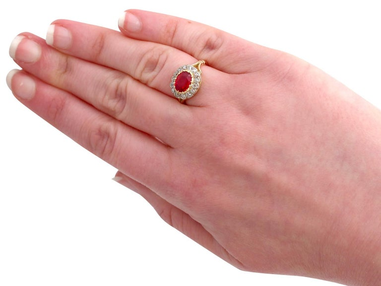 Antique 1.50 Carat Ruby Diamond Yellow Gold Cluster Ring For Sale 3