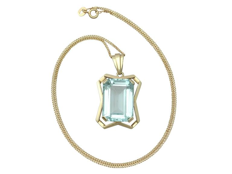 20.85Ct Aquamarine & 14k Yellow Gold Pendant - Art Deco - Antique Circa 1930 2