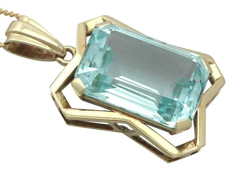 20.85Ct Aquamarine & 14k Yellow Gold Pendant - Art Deco - Antique Circa 1930 3