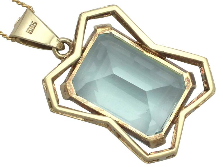 20.85Ct Aquamarine & 14k Yellow Gold Pendant - Art Deco - Antique Circa 1930 5