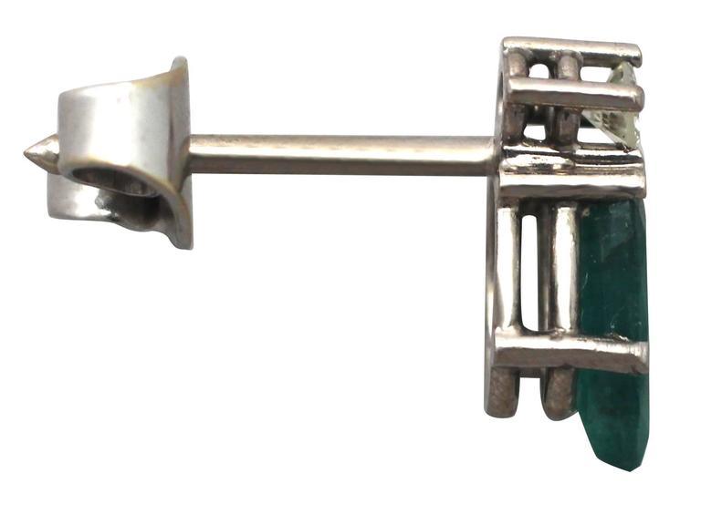 1.04Ct Emerald & 0.05Ct Diamond, 18k White Gold Stud Earrings - Vintage 6
