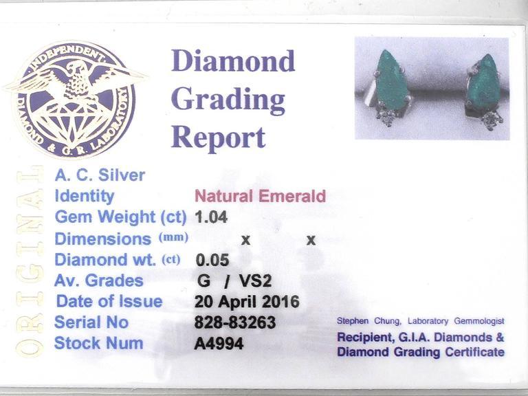 1.04Ct Emerald & 0.05Ct Diamond, 18k White Gold Stud Earrings - Vintage 7