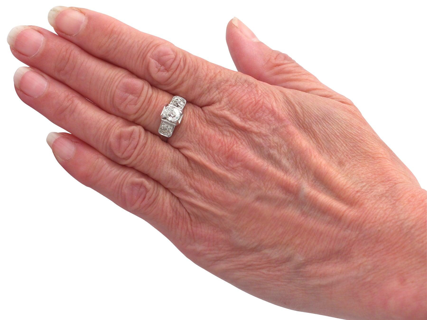 1.42Ct Diamond and Platinum Trilogy Ring - Antique French Circa 1930 ...