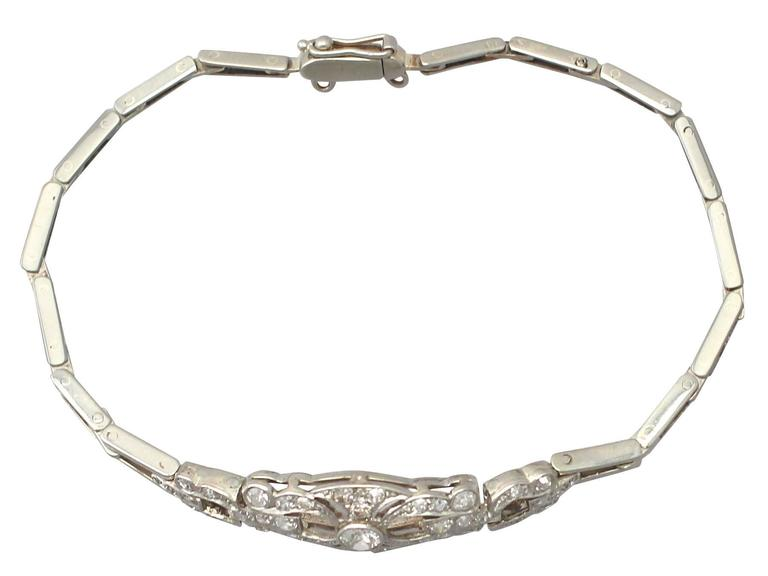 1 02ct Diamond And 14k White Gold Bracelet Antique Circa 1920 In Excellent Condition For