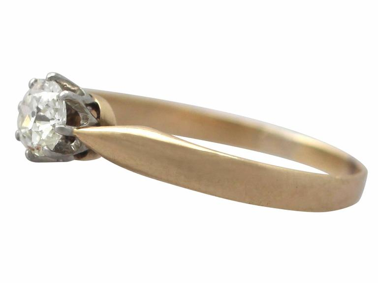 0.45Ct Diamond and 14k Yellow Gold Solitaire Ring - Antique Circa 1910 4