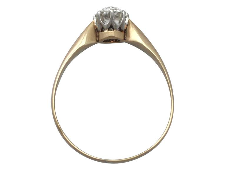 0.45Ct Diamond and 14k Yellow Gold Solitaire Ring - Antique Circa 1910 6
