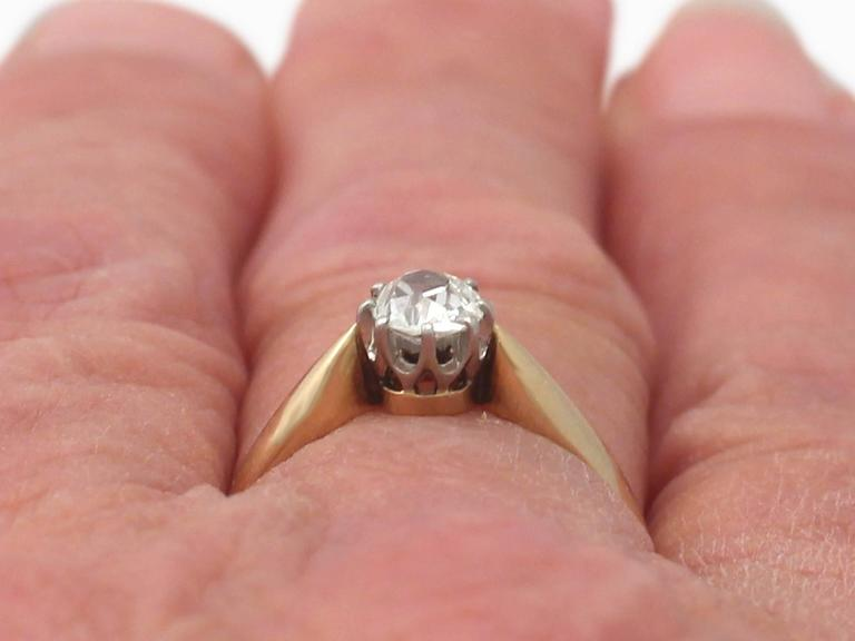 0.45Ct Diamond and 14k Yellow Gold Solitaire Ring - Antique Circa 1910 9