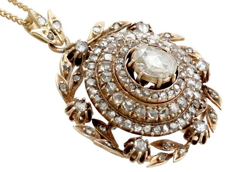 Antique Victorian 2.95 Carat Diamond and Yellow Gold Pendant In Excellent Condition For Sale In Jesmond, Newcastle Upon Tyne