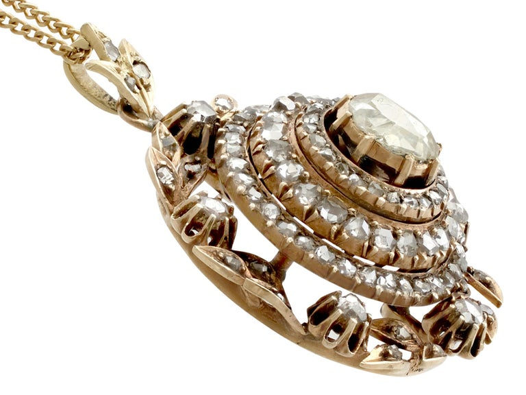 Women's  Antique Victorian 2.95 Carat Diamond and Yellow Gold Pendant For Sale