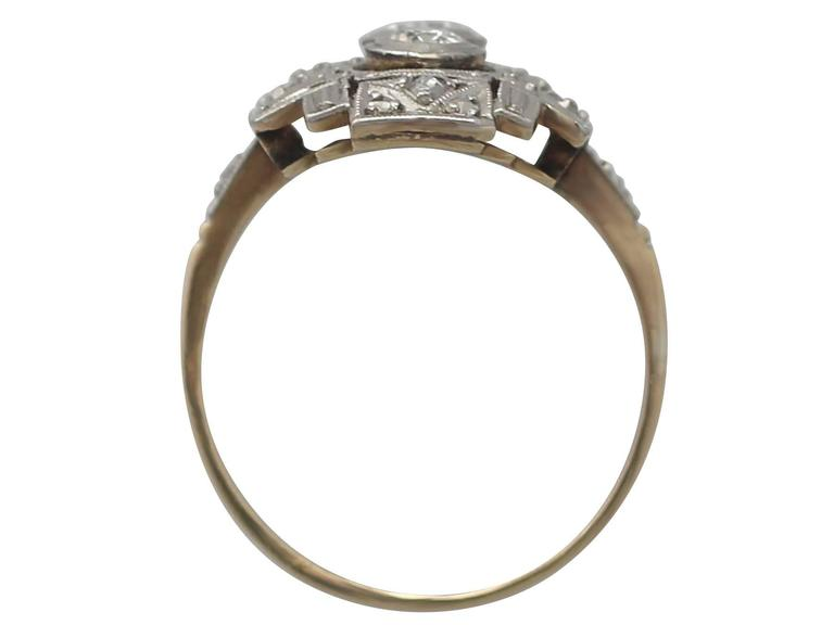 0.88Ct Diamond and 14k Yellow Gold Dress Ring - Art Deco - Antique Circa 1920 For Sale 1