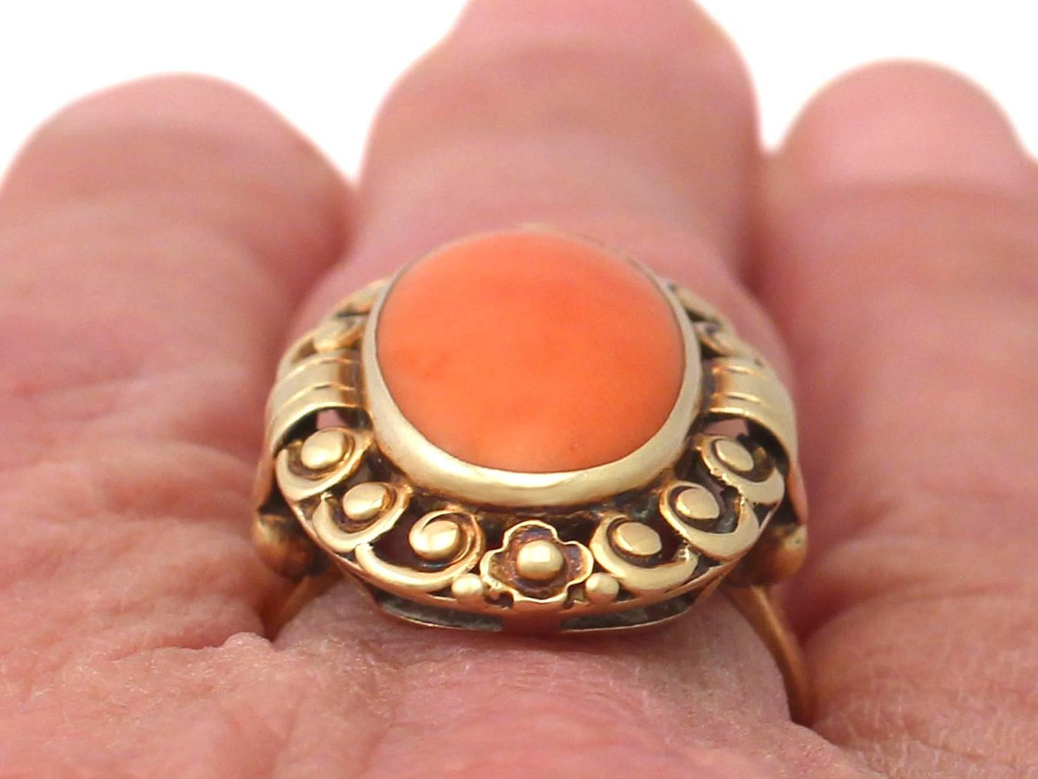 coral and 14k yellow gold dress ring antique german