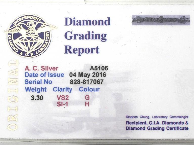 1990s 3.30 ct Diamond and 18k White Gold Bracelet For Sale 2