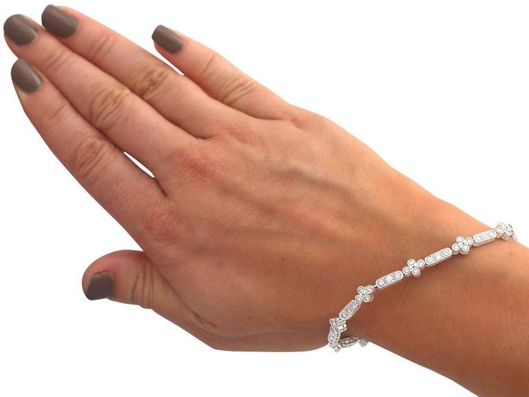 1990s 3.30 ct Diamond and 18k White Gold Bracelet For Sale 3