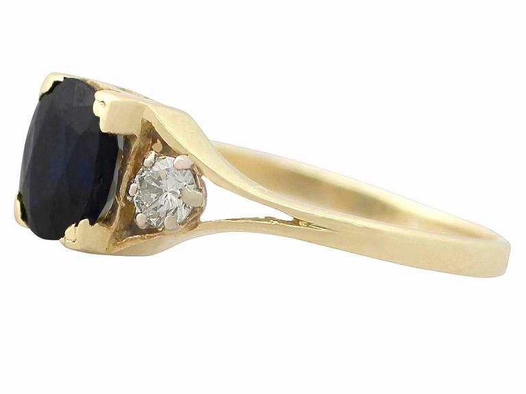 1950s 2.10 ct Sapphire and 0.24 ct Diamond, 18k Yellow Gold Dress Ring 4
