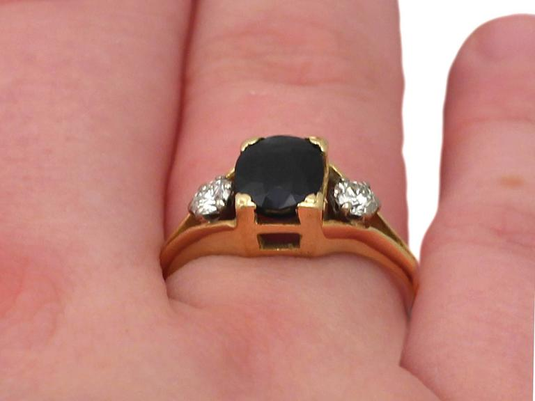 1950s 2.10 ct Sapphire and 0.24 ct Diamond, 18k Yellow Gold Dress Ring 9